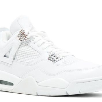 Ready Stock Nike Air Jordan 4 Retro Pure White Metallic Silver Basketball Sport Shoes