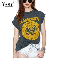 Summer 2017 punk rock T shirt Women Tops Tees Short sleeve o neck grey summer T-shirt RAMONES printed Top Plus size
