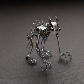 "Mechanical Creature ""Lurker"" Recycled Watch Parts Organism Justin Gershenson-Gates Watch Faces Stems Gears Arthropod Clockwork Robot Insect"