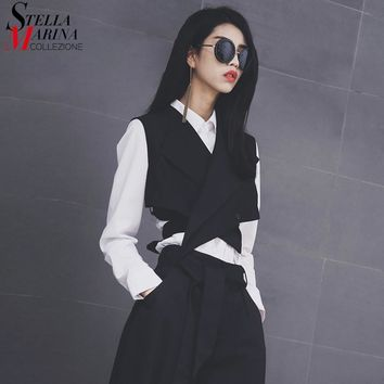 New European Fashion Women Solid Black Vest Sashes Sleeveless Button Women Unique Jacket Girls Casual Waistcoat Style 1851