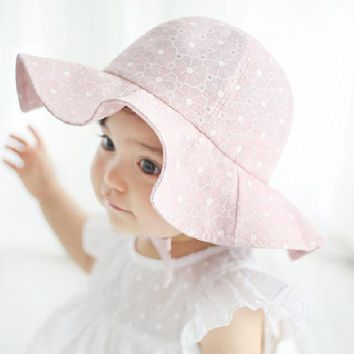Moeble Kids Pink Sun Hat Summer Cotton Bucket Hat Toddler & Children Girls Brim Beach Hat With Wide Brim 1pc H835