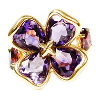 Chanel Camellia Purple Amethyst Gold Ring