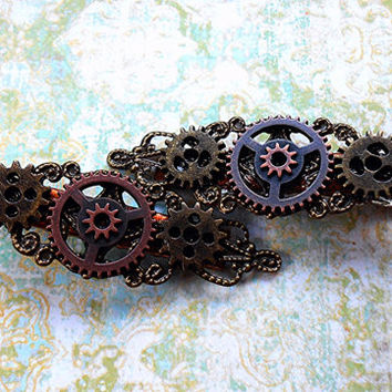 Steampunk Gear Hair Clips- Two Victorian Accessories