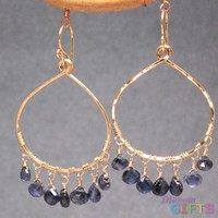 "Hammered drop hoop with kyanite, 2-3/4"" Earring Gold Or Silver"