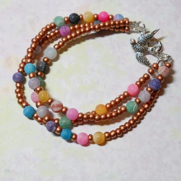 Spread Happiness Beaded Bracelet, Copper seed beads, multi-color agates, silver clasp and barn swallow charm, Love, Beach, Sanibel Island