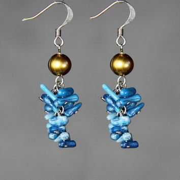 Chandelier golden brown pearl and blue coral long dangle earrings Bridesmaids gifts Free US Shipping handmade Anni Designs