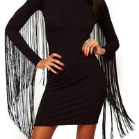 Black Long Sleeve Fringed Mini Dress