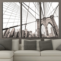 LARGE Wall Art 3 Panel Canvas Brooklyn Bridge + Ready to Hang + New York Skyline Stretched on Deep 3cm Frame - MC233