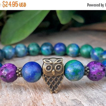 Womens Owl Mala Bracelet, Azurite Malachite, Green Blue Gemstone Bracelet, Purple Agate, Wisdom, Protection, Meditation, Yoga Bracelet