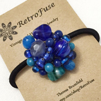 Blue bead cluster ponytail hair elastic made from a recycled vintage 1950s clip earring, Christmas gift for women,  ponytail holder
