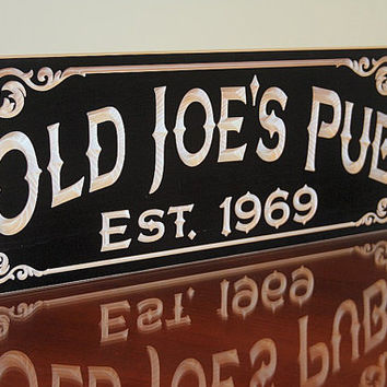 Man Cave Bar Name Sign Custom Man Cave Sign Bar Sign Business Sign Custom Garage Sign Anniversary Personalized Wooden Sign Maple OJ