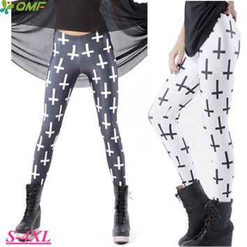 Christian Cross Printed Fitness Gym Workout Tights Black Sexy Hips Push Up Yoga Running Leggins White Slim Pencil Jeggings Femme