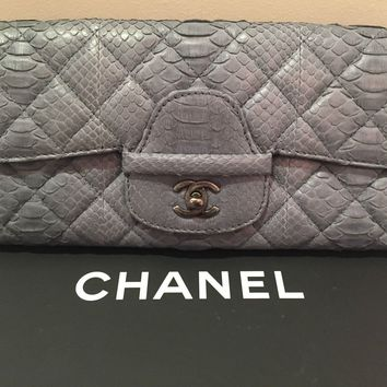 CHANEL Blue Snakeskin Clutch Bag W/Gunmetal tone Hardware *Rare* w/receipt