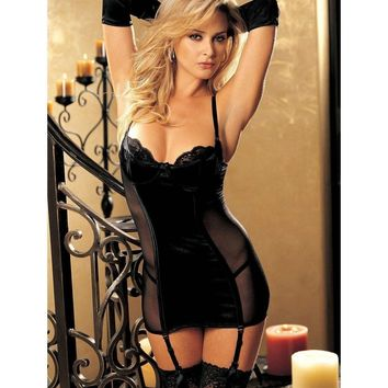 Shirley of Hollywood IS-SOH-20351 Vine Pattern Stretch Jacquard Gartered Chemise