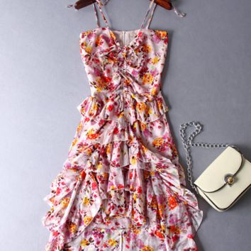 Cotton Floral Slip Dress Dress Travel Vacation Beach Dress