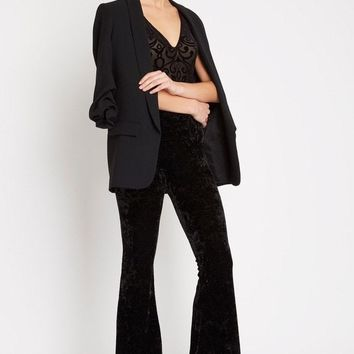 Crushed Velvet High Waisted Bell Bottom Pants
