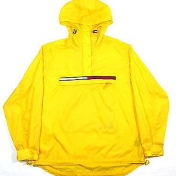TOMMY HILFIGER 90's Vintage Windbreaker Jacket Pullover Large Yellow