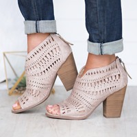 See Me Around Cutout Detail Booties (Cream)