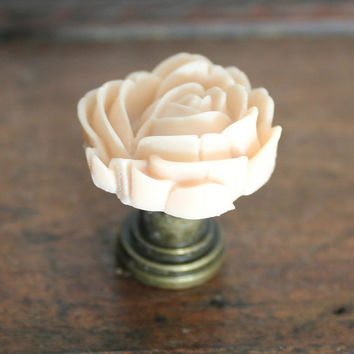Drawer knobs with Blooming Rose in Hibiscus Pink MORE COLORS Available (RFK04)