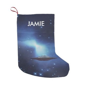 UFO alien galaxies space Small Christmas Stocking