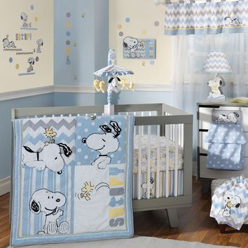 Lambs & Ivy My Little Snoopy 6 Piece Baby Crib Bedding Set w/ Bumper & Mobile