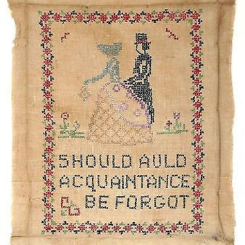 Needlepoint Sampler American Colonial Couple Auld Acquaintance Be Forgot