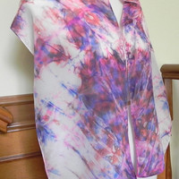 Tie Dyed Shibori Silk Scarf Hand Dyed Red, Pink, Blue and Purple, Ready to Ship