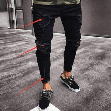 Mens Jeansmens Ripped Skinny Jeans Destroyed Frayed Fit Denim Zipper Jeans