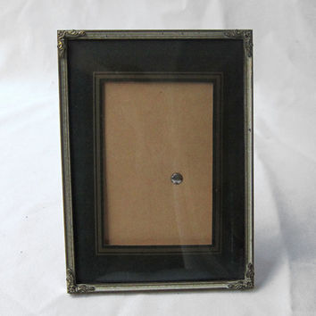 1950's vintage Danish Ramen brass convex glass photo frame