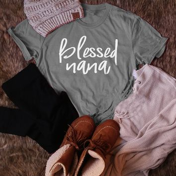 Blessed Nana T-Shirt Funny Cotton Letter Tee Blessed Harajuku Tops Girl for Gift Trendy Tops Casual Slogan Vintage Gray t shirts