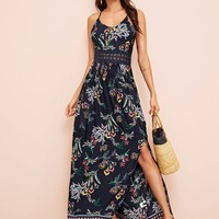 Botanical Print Guipure Lace Insert Split Halter Dress