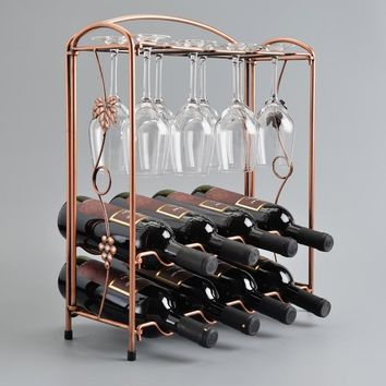 New Assemble 8 Bottles 8 Cups Wine Rack Holder Shelf Whisky Bottles Bar Display Stand (Color: Brown)