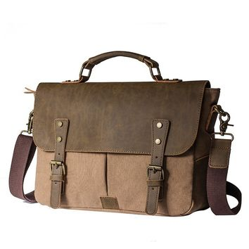 High quality Men,s Women,s Vintage Canvas bag Leather Shoulder Messenger Handbag Briefcases Large Size