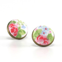 Stud Earrings - Rose Garden Shabby Cottage Chic Earring Studs - Red Green Flowers on White Romantic Fabric Buttons Jewelry Antique Posts