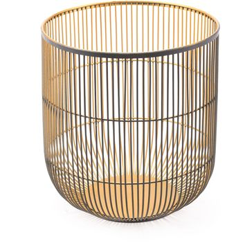 Matte Black & Gold Jaula Candle Holder, Large