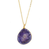 Purple Druzy Gemstone Pendant