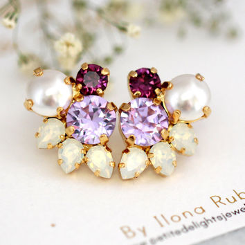 Lavender Earrings, Bridal Cluster Earrings, Lilac Bridal Earrings, Swarovski Earrings, Gift For Her, Bridesmaids Earrings, Purple  Earrings