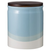 Threshold™ Ceramic Dipped Paint Large Food Canister with Wood Lid - Aqua