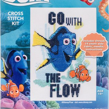 """Go With The Flow (14 Count) Dimensions Finding Dory Counted Cross Stitch Kit 5""""X7"""""""
