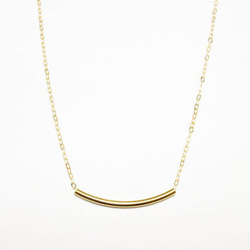 Gold Necklace / Gold Curved Bar Necklace / Delicate Gold Tube Necklace / Bar Necklace / Geometric Modern Minimal / Simple Necklace
