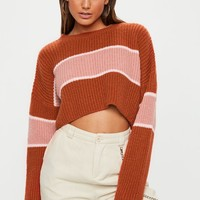 Missguided - Tan Colourblock Striped Brushed Cropped Jumper