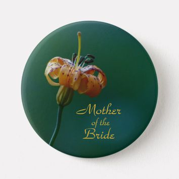Mother of the Bride, Golden Lily Button Pin