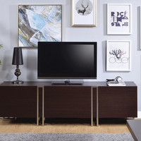 Acme 91795 Cattoes dark walnut finish wood nickel accents tv stand