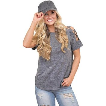Gray Crisscross Detail Short Sleeve T-shirt