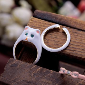 Lizzy the Cat - Hand Painted Rings (3 pcs)