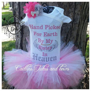 Hand picked for earth Onesuit- hand picked for earth by my papa in heaven- Hand picked for earth tutu set, picked for earth tutu, angel tutu