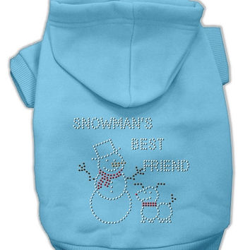 Snowman's Best Friend Rhinestone Dog Hoodie Baby Blue/Small