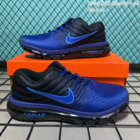 KUYOU N187 Nike Air Max 2017 mesh breathable full palm cushion casual sports shoes Blue Black
