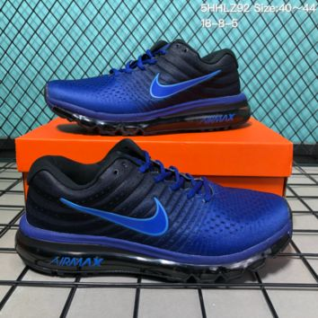DCCK N187 Nike Air Max 2017 mesh breathable full palm cushion casual sports shoes Blue Black