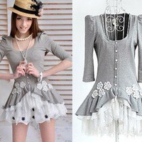 FASHION TRENDY Dolly Kawaii Sweet Princess Cute Lolita Lace Gray Shirt Top S~L